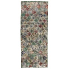 Distressed Vintage Turkish Sivas Rug with Rustic English Country Style