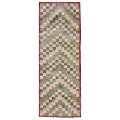 Distressed Vintage Turkish Sivas Rug with Rustic Mid-Century Modern Cubist Style