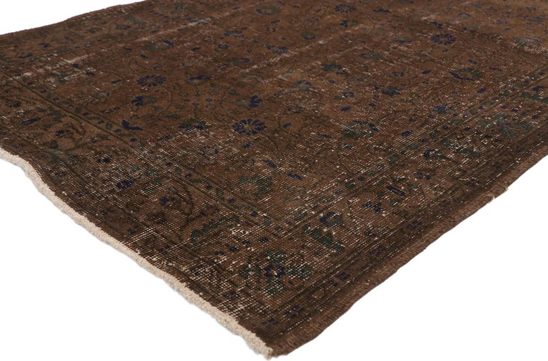 51106 distressed vintage Turkish Sivas rug with Rustic Organic Modern Farmhouse style. Rustic and refined, this hand knotted wool distressed vintage Turkish Sivas rug is gorgeous whether it's used as an accent or powerfully used as the focal point