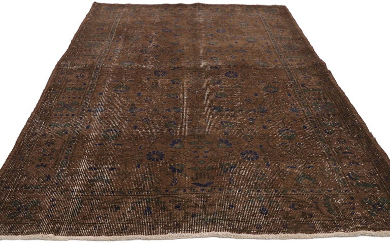 Hand-Knotted Distressed Vintage Turkish Sivas Rug with Rustic Organic Modern Farmhouse Style  For Sale