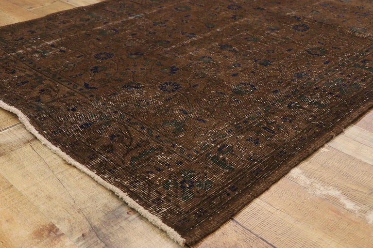Wool Distressed Vintage Turkish Sivas Rug with Rustic Organic Modern Farmhouse Style  For Sale