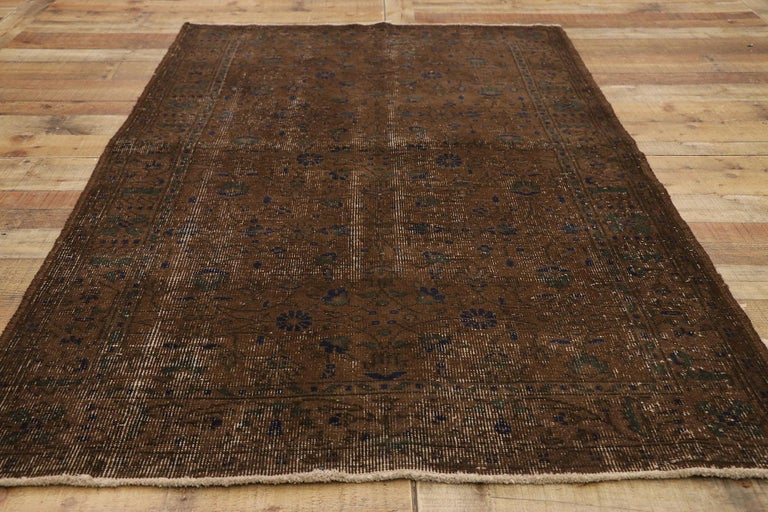 Distressed Vintage Turkish Sivas Rug with Rustic Organic Modern Farmhouse Style  For Sale 1