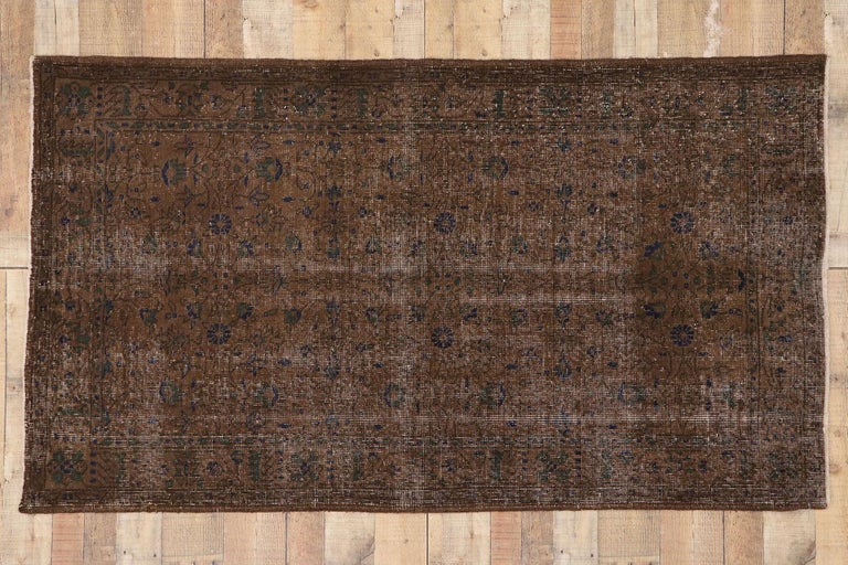 Distressed Vintage Turkish Sivas Rug with Rustic Organic Modern Farmhouse Style  For Sale 2