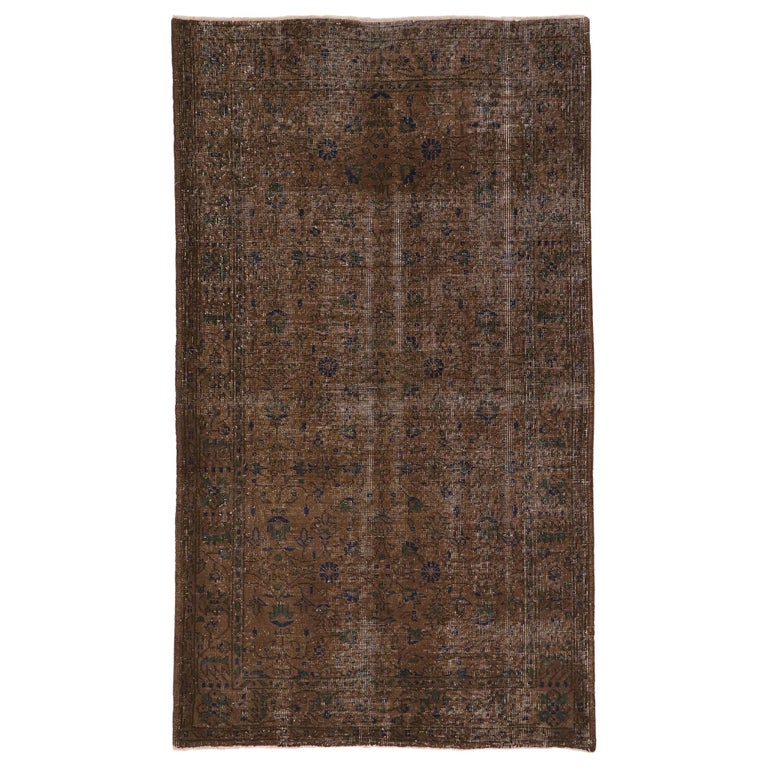 Distressed Vintage Turkish Sivas Rug with Rustic Organic Modern Farmhouse Style  For Sale