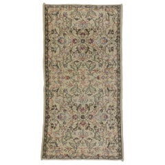 Distressed Vintage Turkish Sivas Rug with Rustic Russian Cottage Style