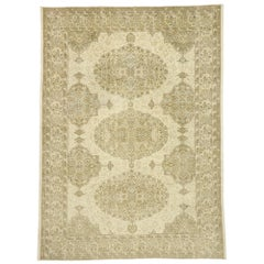 Distressed Vintage Turkish Sivas Rug with Rustic William and Mary Style