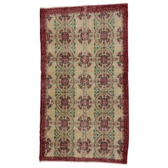 Distressed Vintage Turkish Sivas Rug with Shabby Chic English Country Style