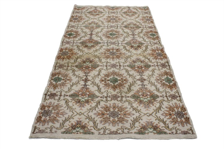 Rustic Distressed Vintage Turkish Sivas Rug with Shabby Chic Farmhouse Style For Sale