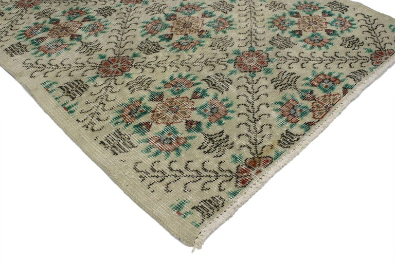 51970, distressed vintage Turkish Sivas rug with shabby chic farmhouse style. This distressed vintage Turkish Sivas rug with modern Industrial Art Deco style can make an interior space feel both comfortable and modern yet, full of character.