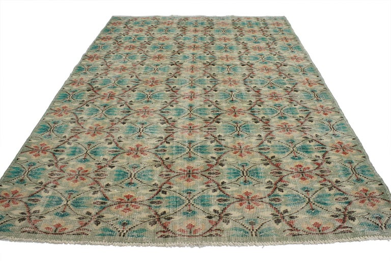 51999, distressed vintage Turkish Sivas rug with shabby chic farmhouse style. This distressed vintage Turkish Sivas rug with shabby chic farmhouse style can make an interior space feel tastefully casual yet elegant. The distressed Sivas rug features