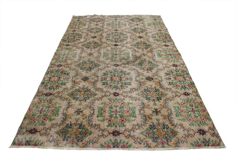 Country Distressed Vintage Turkish Sivas Rug with Shabby Chic Farmhouse Style For Sale