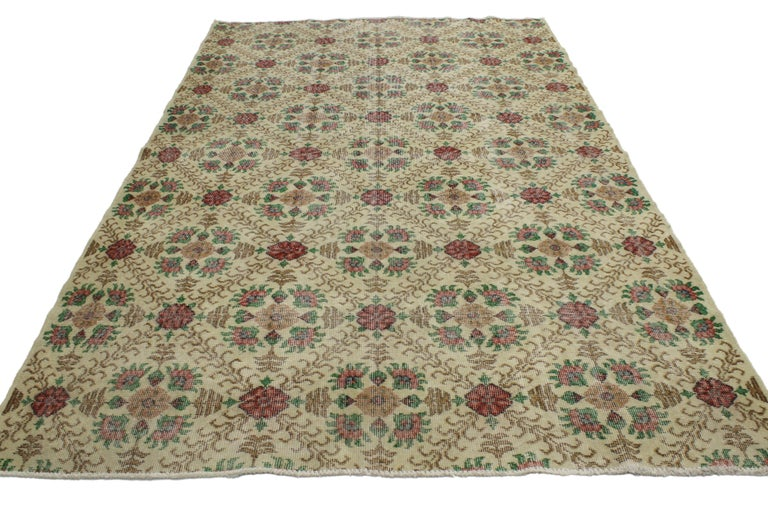 Hand-Knotted Distressed Turkish Sivas Rug with Shabby Chic English Country Cottage Style For Sale