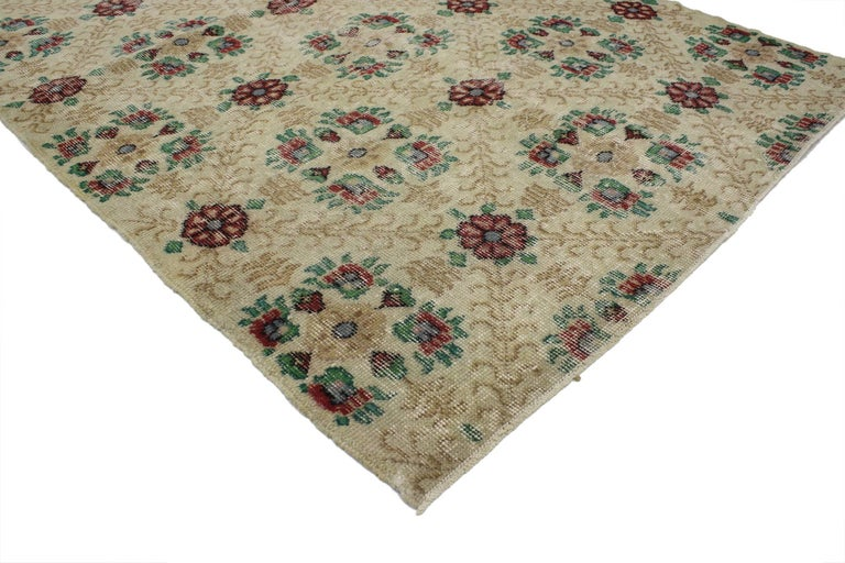 51950 Distressed Vintage Turkish Sivas Rug with Shabby Chic Farmhouse Style 03'11 x 06'09. This distressed vintage Turkish Sivas rug with Shabby Chic style can make an interior space feel both comfortable and modern yet, full of character.