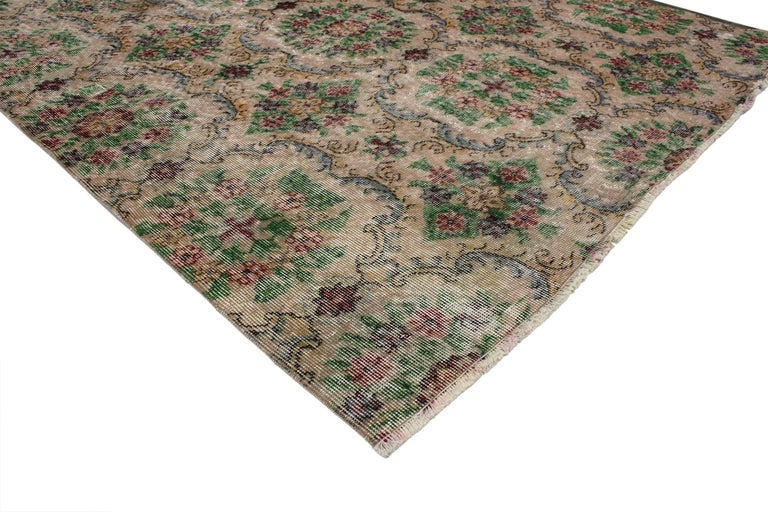 52002 Distressed Turkish Sivas Rug with Shabby Chic English Country Cottage Style 05'00 x 06'07. With the perfect mix of romance and simplicity, this hand-knotted wool distressed vintage Turkish Sivas rug embodies a cozy English Country Cottage