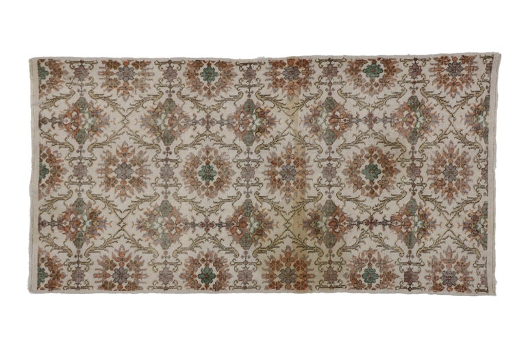 Hand-Knotted Distressed Vintage Turkish Sivas Rug with Shabby Chic Farmhouse Style For Sale