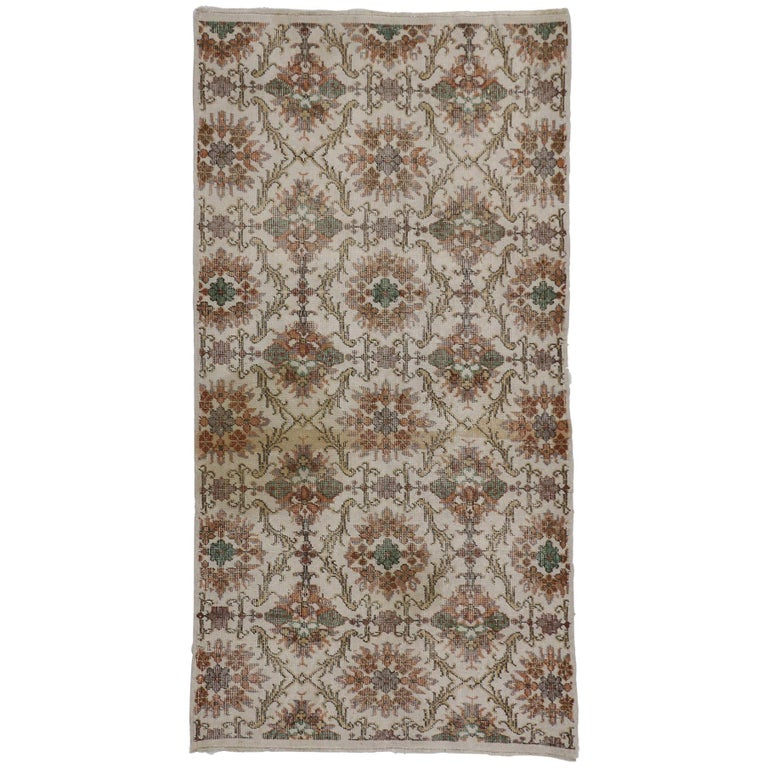 Distressed Vintage Turkish Sivas Rug with Shabby Chic Farmhouse Style For Sale