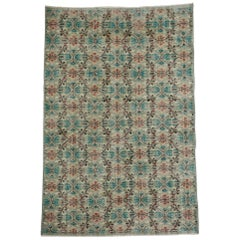 Distressed Vintage Turkish Sivas Rug with Shabby Chic Swedish Farmhouse Style