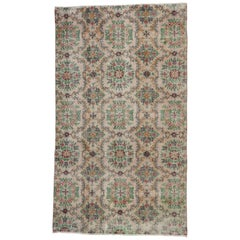 Distressed Vintage Turkish Sivas Rug with Swedish Country Farmhouse Style