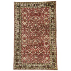 Distressed Vintage Turkish Sivas Rug with Shabby Chic Rustic Art Nouveau Style