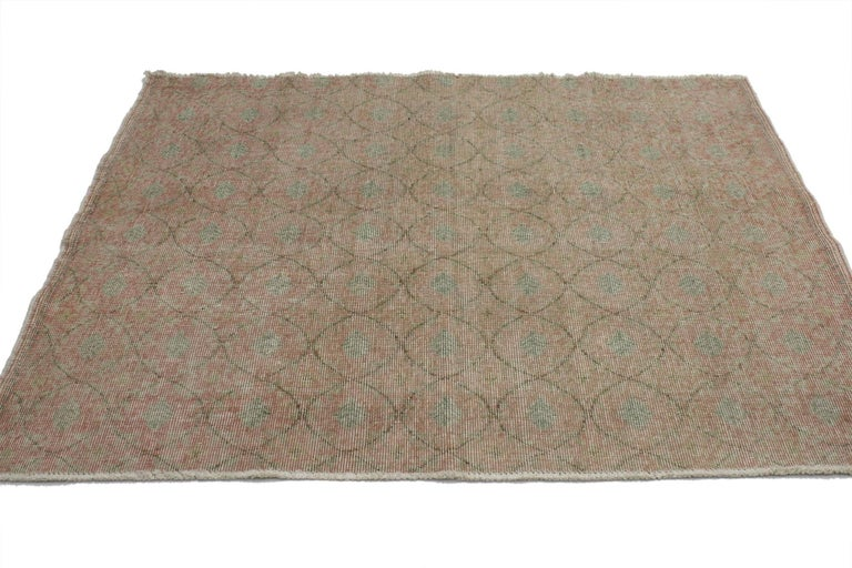 51984, Distressed Vintage Turkish Sivas Rug with Shabby Chic Rustic Farmhouse Style. This distressed vintage Turkish Sivas Accent rug with farmhouse shabby chic style can make an interior space feel tastefully casual yet elegant. The accent rug