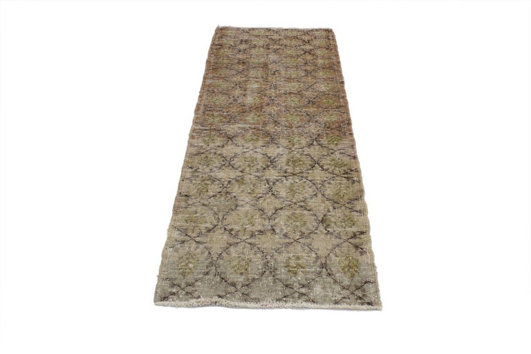 51989 Distressed Vintage Turkish Sivas Rug with Shabby Chic Rustic Farmhouse Style 02'05 x 07'00. This hand knotted wool distressed vintage Turkish Sivas Accent rug with farmhouse shabby chic style features a botanical oval-shaped lattice pattern