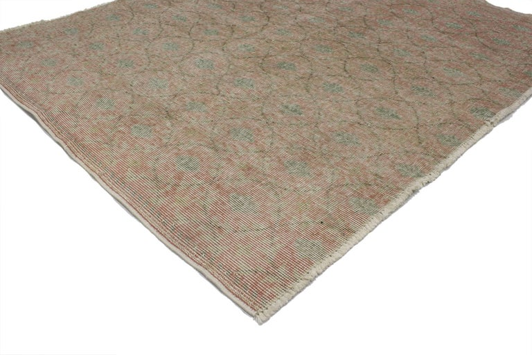 Modern Distressed Vintage Turkish Sivas Rug with Shabby Chic Rustic Farmhouse Style For Sale