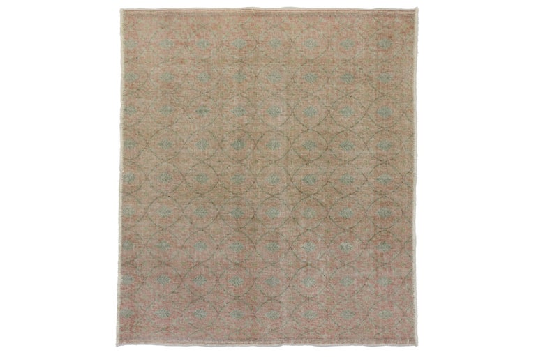 Hand-Knotted Distressed Vintage Turkish Sivas Rug with Shabby Chic Rustic Farmhouse Style For Sale