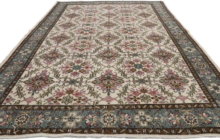 Hand-Knotted Distressed Vintage Turkish Sivas Rug with Swedish Cottage Gustavian Style For Sale