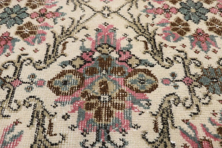 Distressed Vintage Turkish Sivas Rug with Swedish Cottage Gustavian Style In Distressed Condition For Sale In Dallas, TX