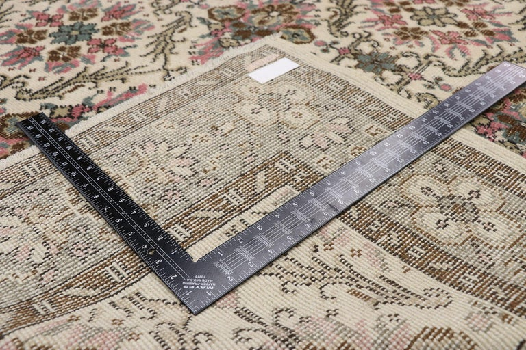 20th Century Distressed Vintage Turkish Sivas Rug with Swedish Cottage Gustavian Style For Sale