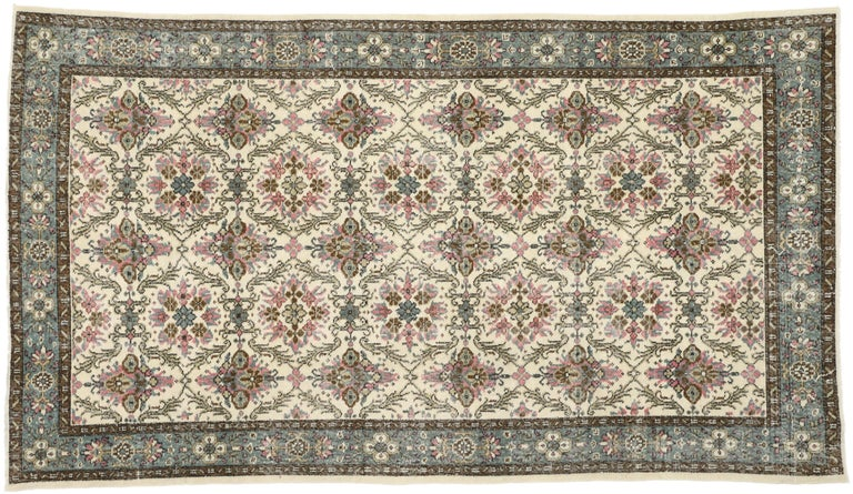 Wool Distressed Vintage Turkish Sivas Rug with Swedish Cottage Gustavian Style For Sale