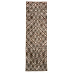 Distressed Vintage Turkish Sivas Runner with Mid-Century Modern Cubist Style