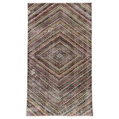 Distressed Vintage Turkish Sivas Runner with Mid-Century Modern Rustic Style