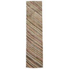 Distressed Vintage Turkish Sivas Runner with Rustic Cubist Style