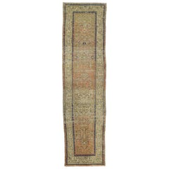 Distressed Vintage Turkish Sivas Runner with Rustic Pacific Northwest Style