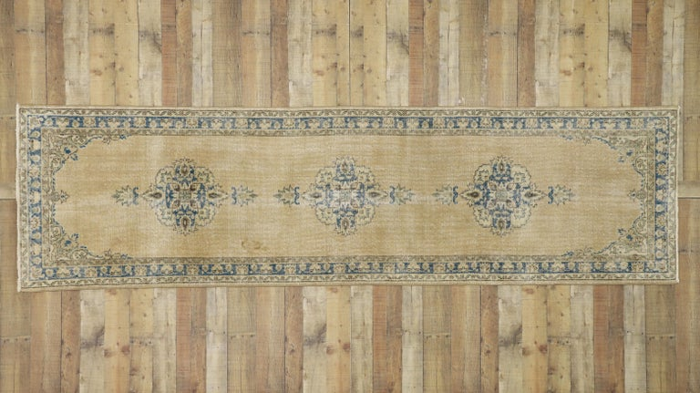 Distressed Vintage Turkish Sivas Runner with Gustavian Farmhouse Style For Sale 4