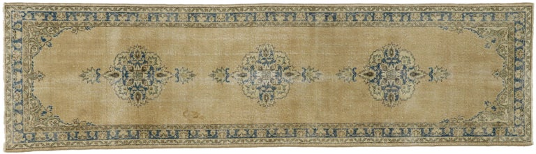 Distressed Vintage Turkish Sivas Runner with Gustavian Farmhouse Style For Sale 5