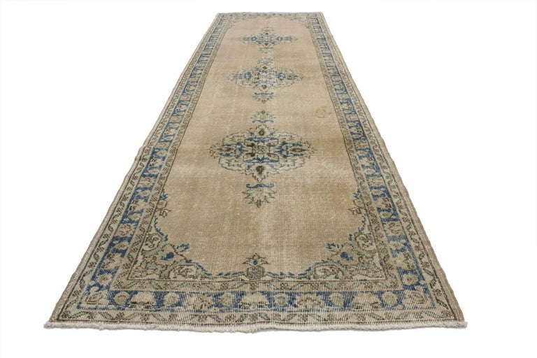 Hand-Knotted Distressed Vintage Turkish Sivas Runner with Gustavian Farmhouse Style For Sale