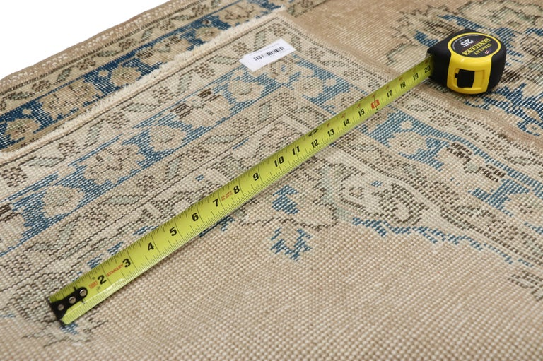 Distressed Vintage Turkish Sivas Runner with Gustavian Farmhouse Style In Distressed Condition For Sale In Dallas, TX