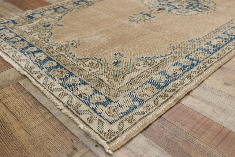 20th Century Distressed Vintage Turkish Sivas Runner with Gustavian Farmhouse Style For Sale