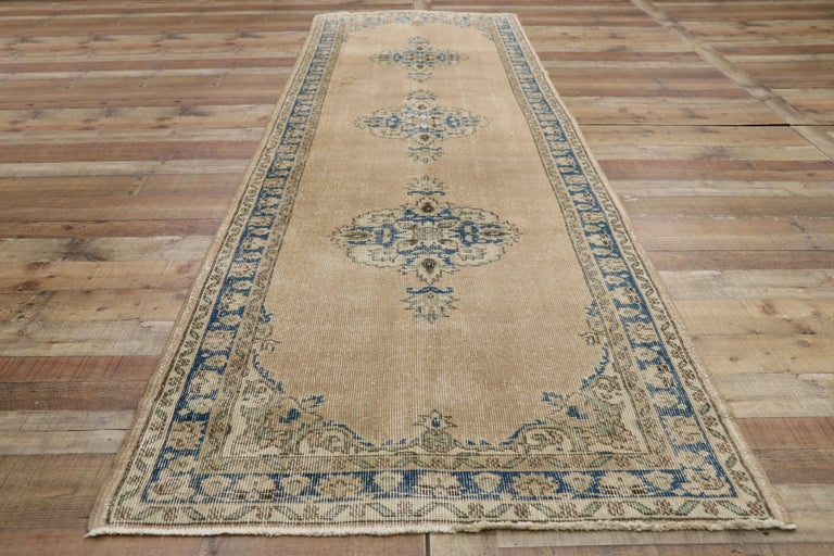 Wool Distressed Vintage Turkish Sivas Runner with Gustavian Farmhouse Style For Sale