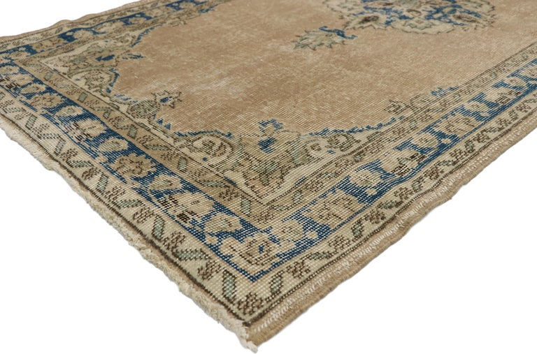 Distressed Vintage Turkish Sivas Runner with Gustavian Farmhouse Style For Sale 2