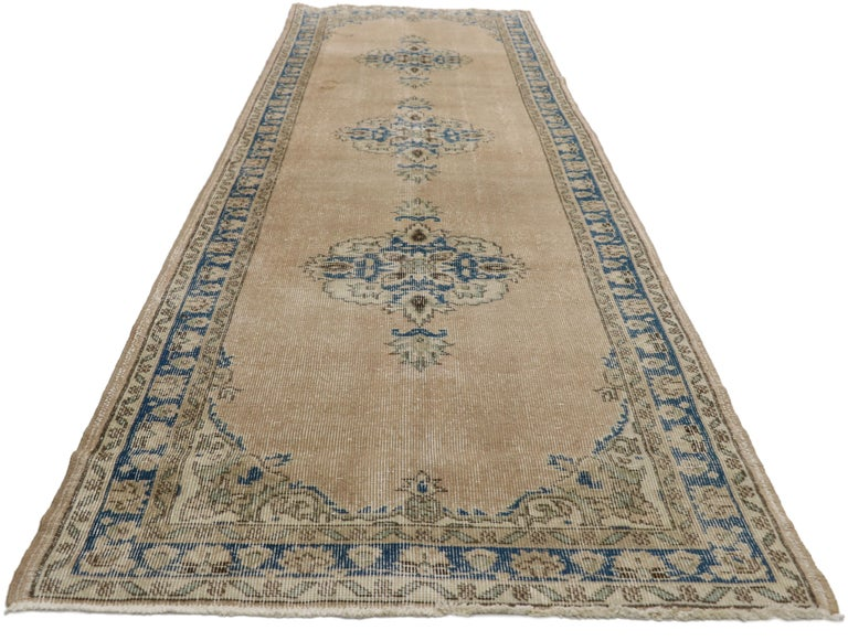 Distressed Vintage Turkish Sivas Runner with Gustavian Farmhouse Style For Sale 3