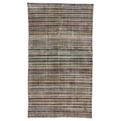 Distressed Vintage Turkish Sivas Striped Rug with Modern Rustic American Style