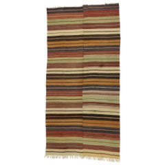 Distressed Vintage Turkish Striped Kilim Rug with Modern Rustic Cabin Style
