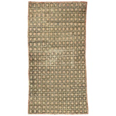Distressed Vintage Turkish Tulu Accent Rug with Mid-Century Modern Cubist Style