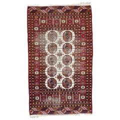 Distressed Vintage Turkmen Afghan Rug