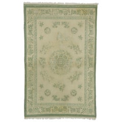 Distressed Weathered Vintage Indian Rug with Chinoiserie Shabby Chic Style