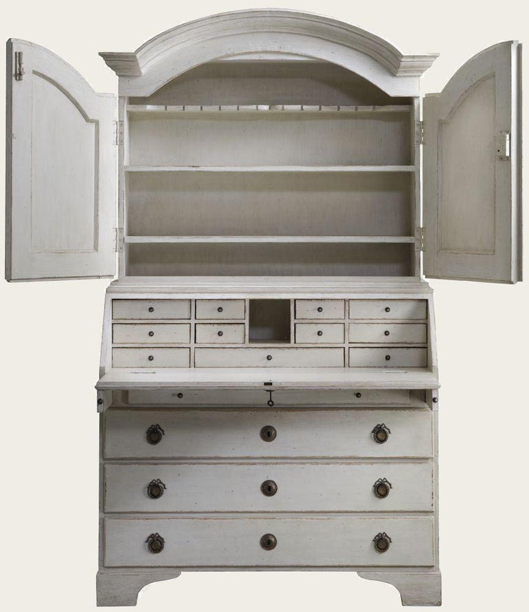 Unknown Distressed White Painted Gustavian Style Bureau, Secretaire For Sale