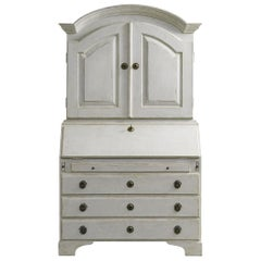 Distressed White Painted Gustavian Style Bureau, Secretaire